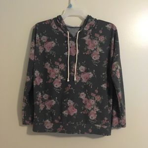 Floral hooded long sleeve shirt